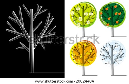 Silhouettes of trees during different seasons - stock vector