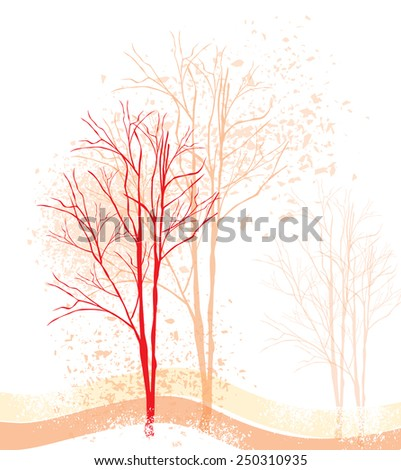 Silhouettes of trees on a grunge background-Vector, illustration