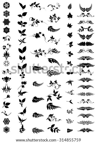 silhouettes of trees,silhouettes of leaves,silhouettes of Flower,tree branch - stock vector