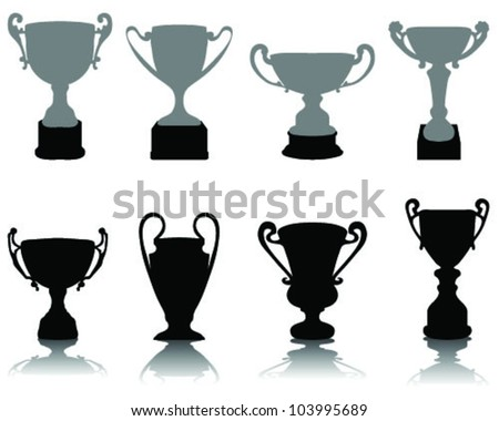 Silhouettes of trophies-vector - stock vector