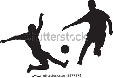 Silhouettes of two football players with ball