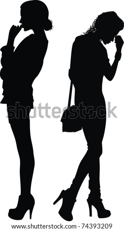 Silhouettes of two girls which think