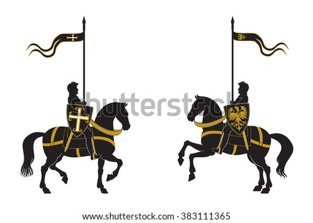 Silhouettes of two knights