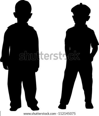 Silhouettes of two small boys - stock vector