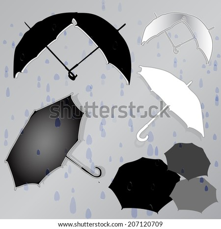 Silhouettes of umbrellas in the background of raindrops - stock vector