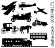 Silhouettes of vehicles. Silhouettes of transport: airplanes, antique car, double decker bus, motorcycle, carriage with a horse, a diesel train. Vector illustration. - stock vector