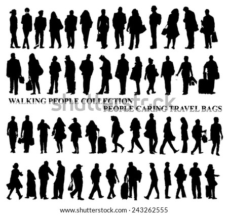 Silhouettes of walking people, caring bags, talking on the phone etc