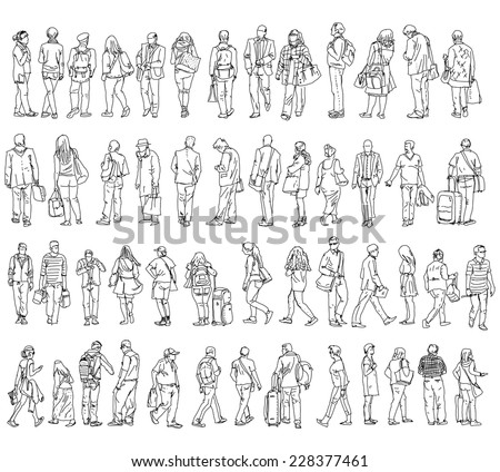 Silhouettes of walking people, caring bags, talking on the phone etc. Sketch collection - stock vector