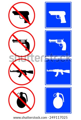 Silhouettes of weapons on road signs - stock vector
