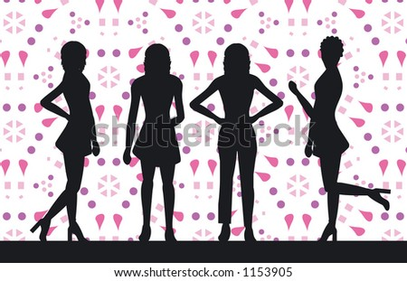Silhouettes of women - stock vector