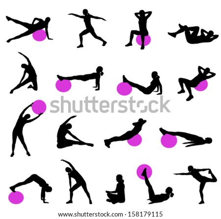 silhouettes of women doing pilates - stock vector