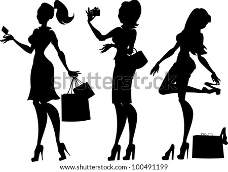 Silhouettes of 3 women during shopping, isolated - stock vector