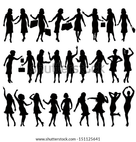 silhouettes of women in various poses - stock vector