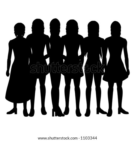 Silhouettes of women on a white background - stock vector