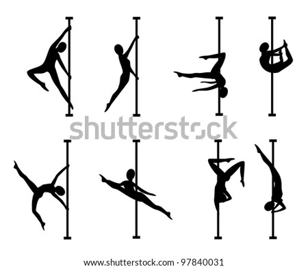 Silhouettes of women with a pole - stock vector