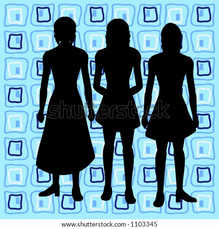 Silhouettes of women with retro background - stock vector