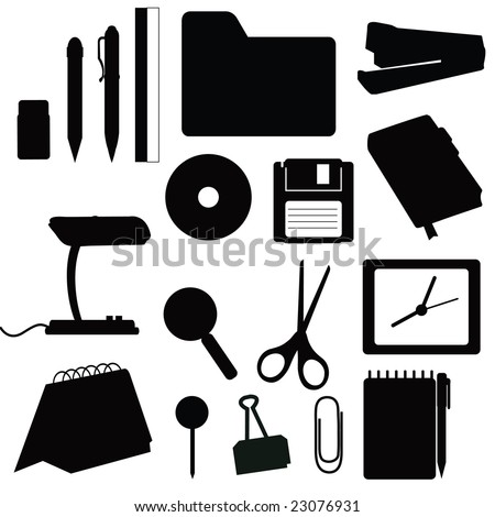 Silhouettes office items - stock vector