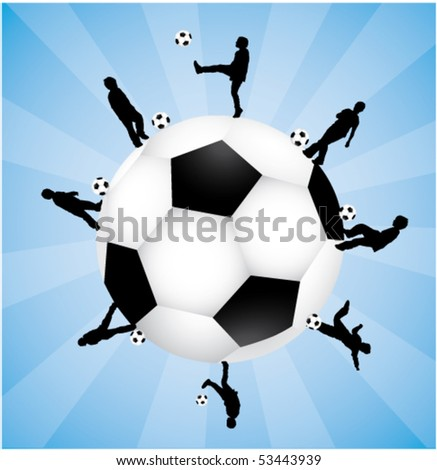 silhouettes playing football on a fotball earth - stock vector