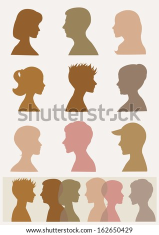 Silhouettes, profiles. Sepia colors  - stock vector