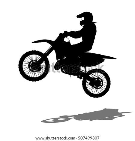 silhouettes rider participates motocross championship
