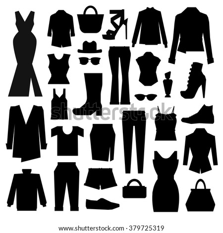 silhouettes set of clothes - stock vector
