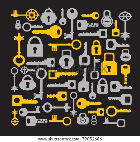Silhouettes set of keys and locks on a black - stock vector