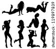 Silhouettes Sexy Girl in various Poses, isolated on white background, vector illustration - stock vector