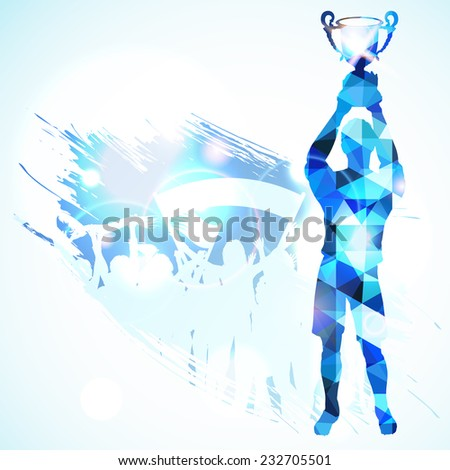 Silhouettes Soccer Player with Trophy and Fans in Mosaic Pattern on grunge background, vector illustration. - stock vector