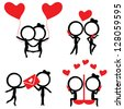silhouettes stick figure couple with red love items - stock photo