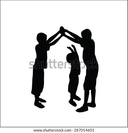 silhouettes vector of children playing.
