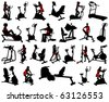 silhouettes woman fitness collection vector - stock vector