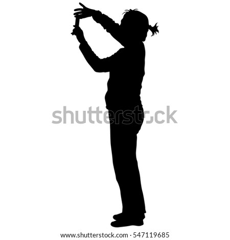 Silhouettes woman taking selfie with smartphone on white background. Vector illustration.