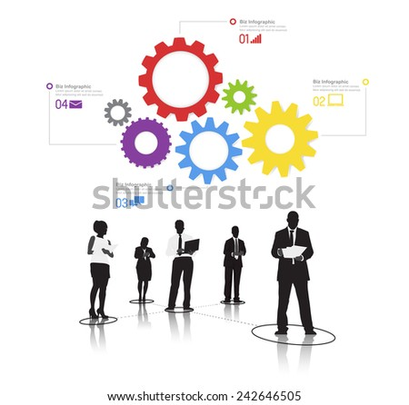 Silhouetts of Business People Working and Gears Vector - stock vector