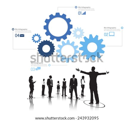 Silhouetts of Successful Business People and Gears - stock vector
