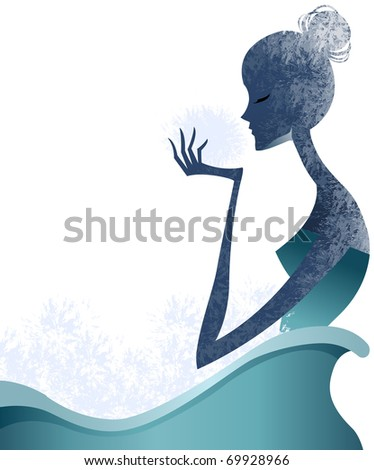 silhuette woman - stock vector