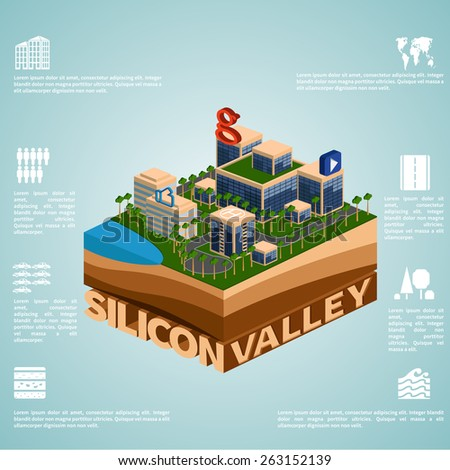Silicon Valley. Set of detailed isometric vector.   Infographics EPS 8. - stock vector