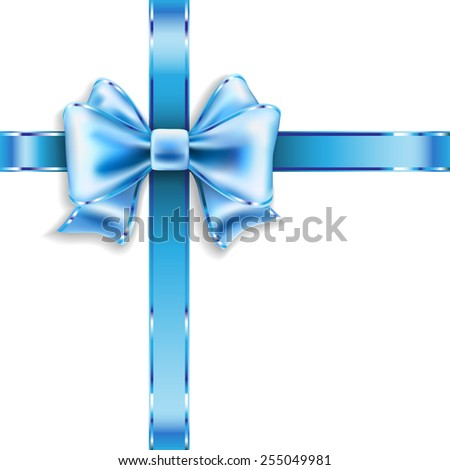 Silk blue bow isolated on white. Vector illustration. - stock vector