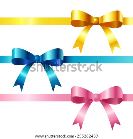 Silk ribbons with bows.Vector illustration. - stock vector