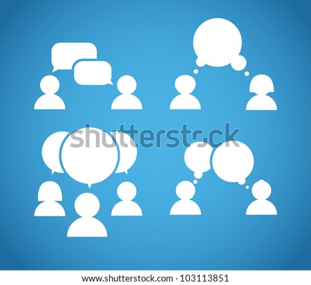 Sillhiuettes of talking people collection - stock vector