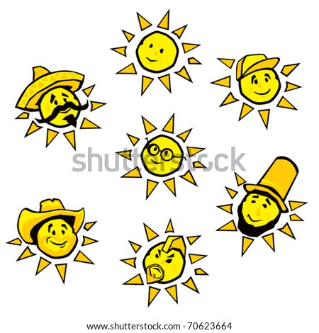 Silly Sun Illustrations - stock vector