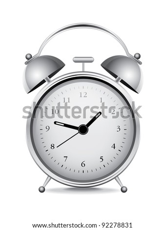 Silver alarm clock over white background - stock vector