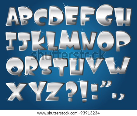 Silver alphabet - stock vector