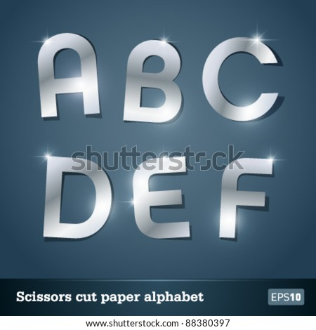 Silver alphabet for designers. Vector EPS10. No mesh. - stock vector
