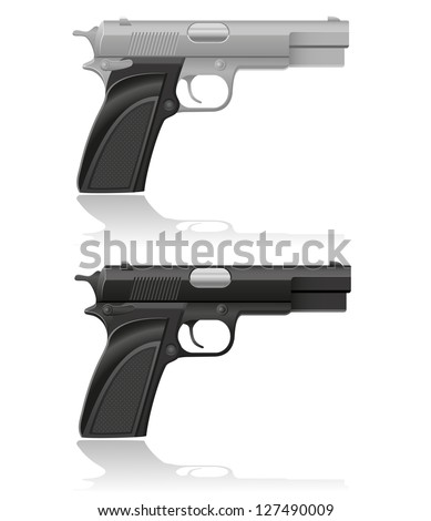 silver and black automatic pistol vector illustration isolated on white background - stock vector