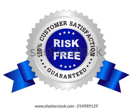 Silver and blue color clean 100% customer satisfaction guaranteed seal / stamp - stock vector