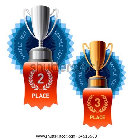Silver and Bronze awards - stock vector