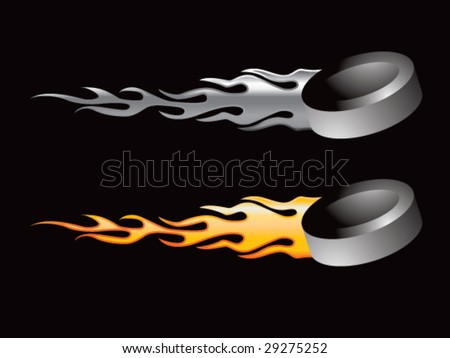 silver and gold flaming hockey pucks - stock vector