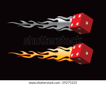 silver and gold flaming red dice - stock vector