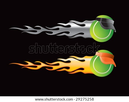 silver and gold flaming tennis balls with visors