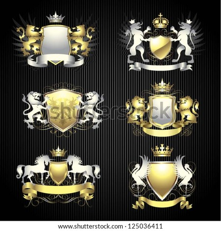 Silver and gold heraldry set - stock vector